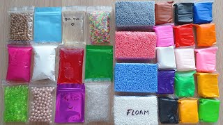 Making Crunchy Slime with Bags Foam Bricks and Clay