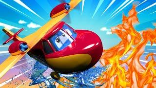 ПОЖАРНЫЙ САМОЛЁТ тушит лесной пожар - Трансформер Карл в Автомобильный Город 🚚 ⍟ детский мультфильм