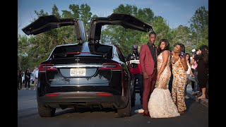 Tesla SUV causes big reaction at high school prom
