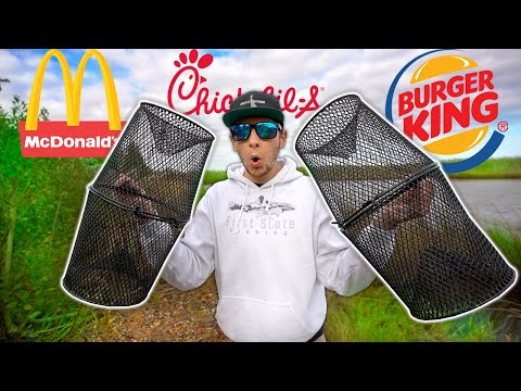 Fast Food MINNOW TRAPPING Fishing Challenge!! (Surprising)