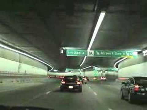Boston MA at Night, I-93 Bridge & Tunnel