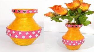 How to make Best out of waste newspaper flower vase diy gbalaji crafts