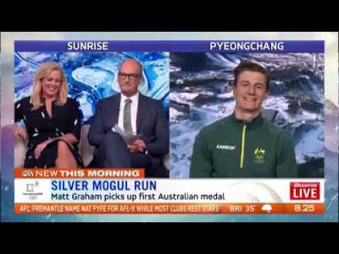Matt Graham || Pyeong Chang 2018 moguls || Aussie silver medalist live chat on Sunrise