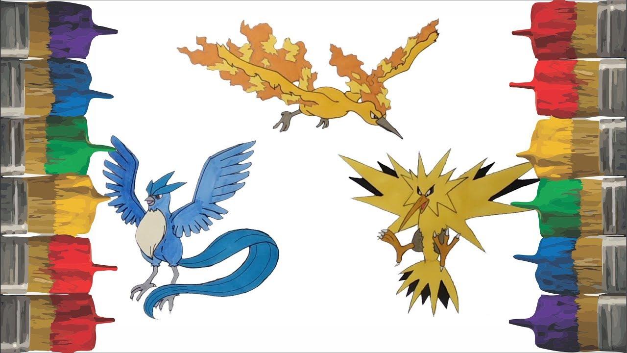 Pokemon Coloring Page For Kids Children Draw Pintar Legendary Birds