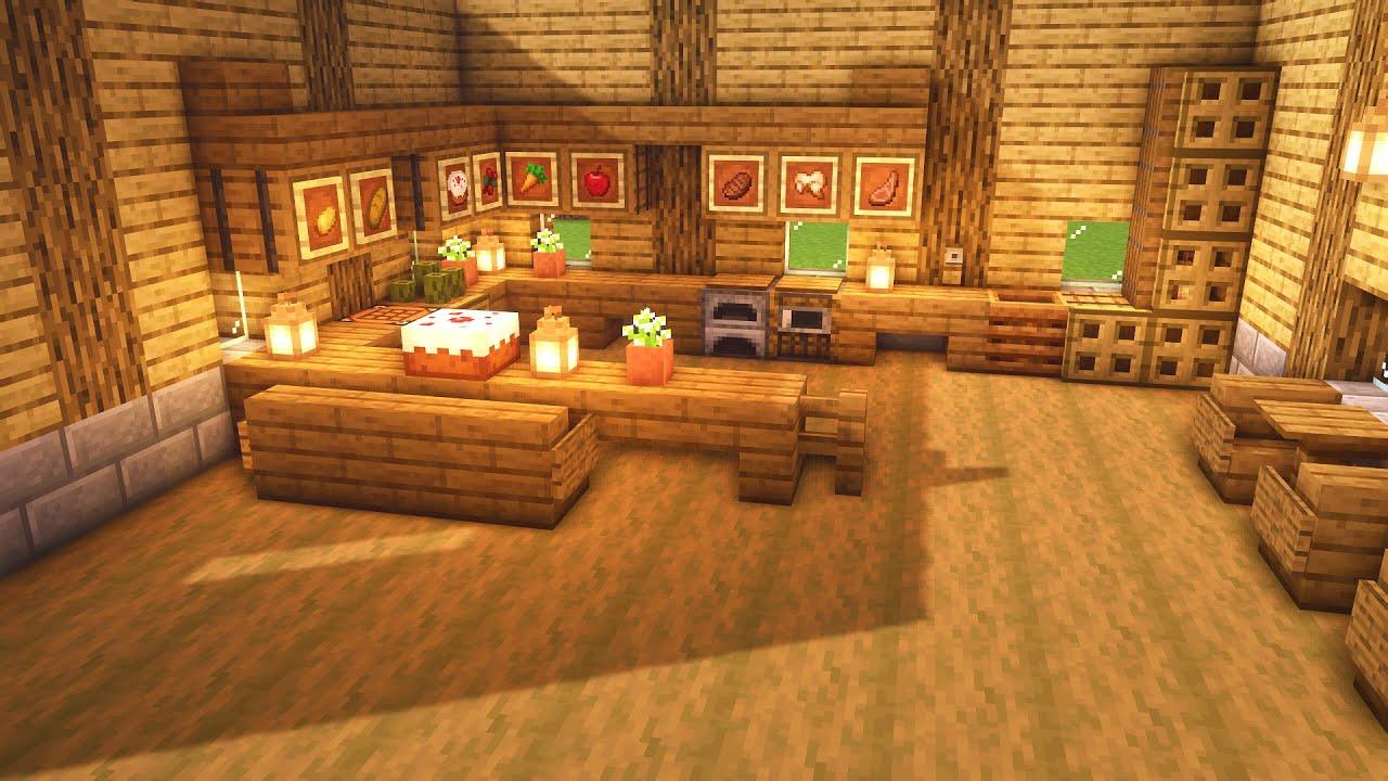 Minecraft Small Wooden Kitchen Design Tutorial Youtube