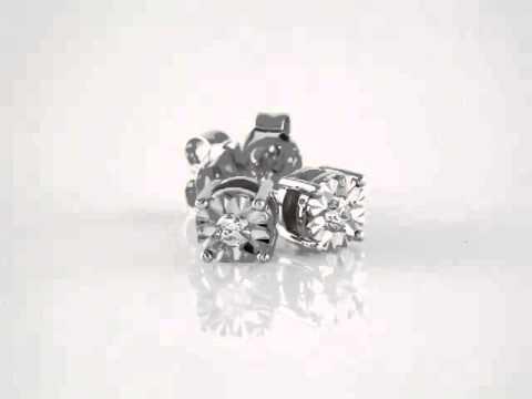 14kt White 1/8 CTW Diamond Illusion Stud Earrings