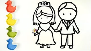 GLITTER WEDDING DRESSES BRIDE & GROOM CAKE & DIAMOND RING COLORING & DRAWING FOR KIDS