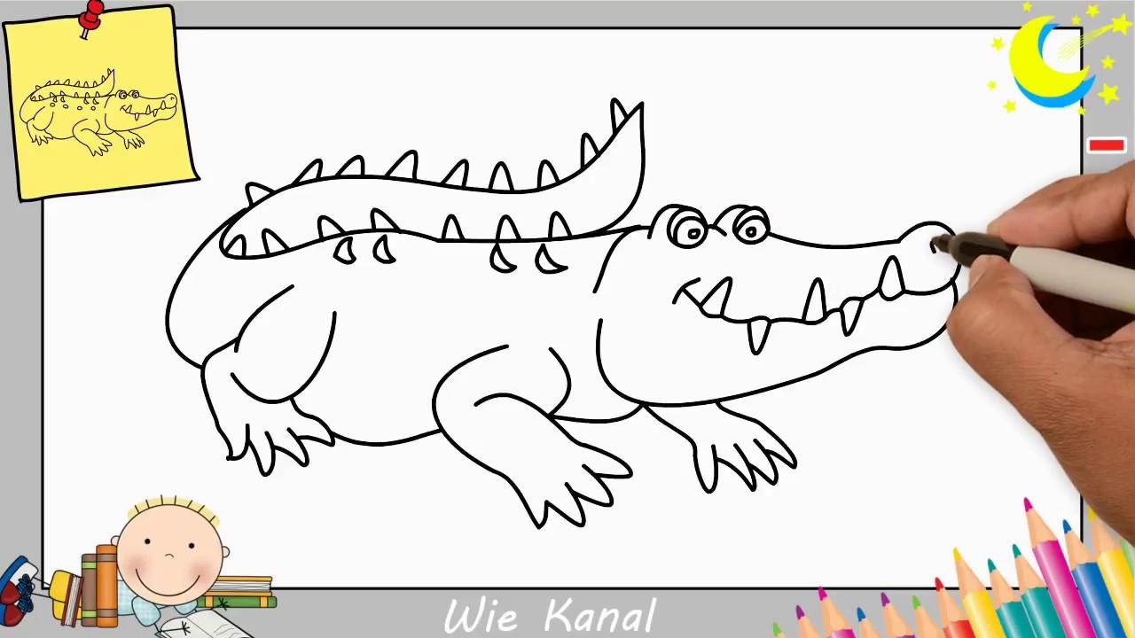 Krokodil Zeichnen Lernen Einfach Fur Anfanger Kinder Youtube