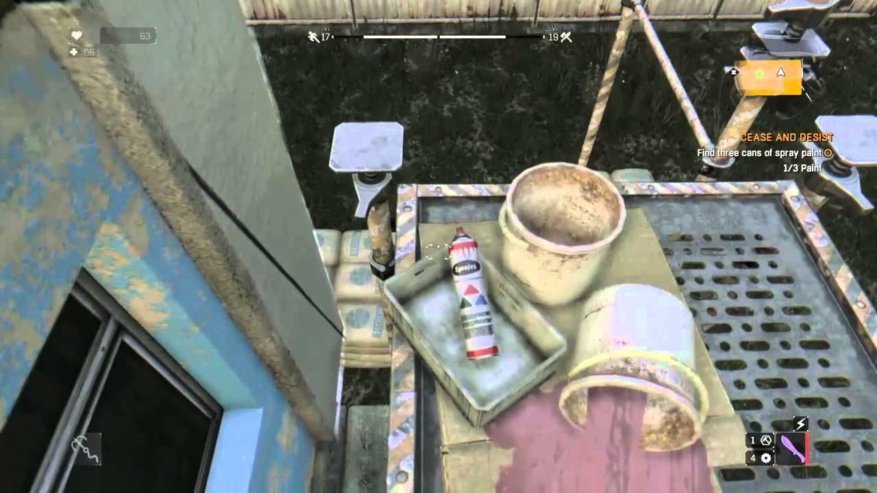 Dying Light - Cease and Desist / Find 3 cans of spray paint