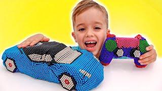 Vlad et Niki font semblant de jouer avec des balles aimantées - Histoire amusante pour les enfants