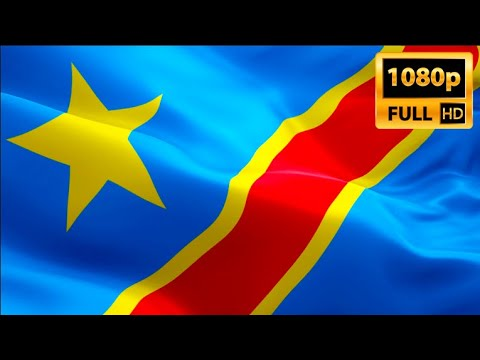 ‎DR Congo flag video waving in wind. Realistic Kinshasa Flag background. Congo flag Full HD