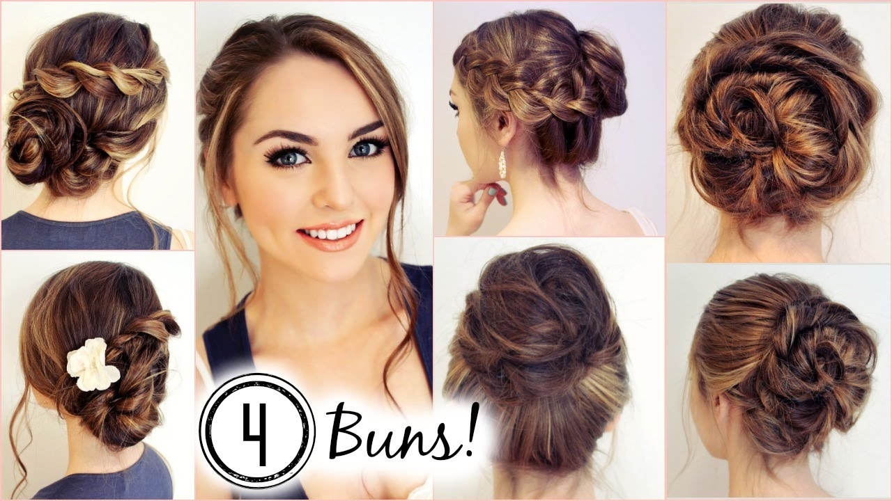 Hairstyles Messy Bun : NO HEAT HAIRSTYLES! 4 Unique Messy Buns - Jackie Wyers - YouTube