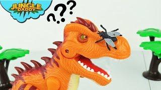 Dinosaur vs ANNOYING FLY | Orange T-Rex battles insect toys for kids animals