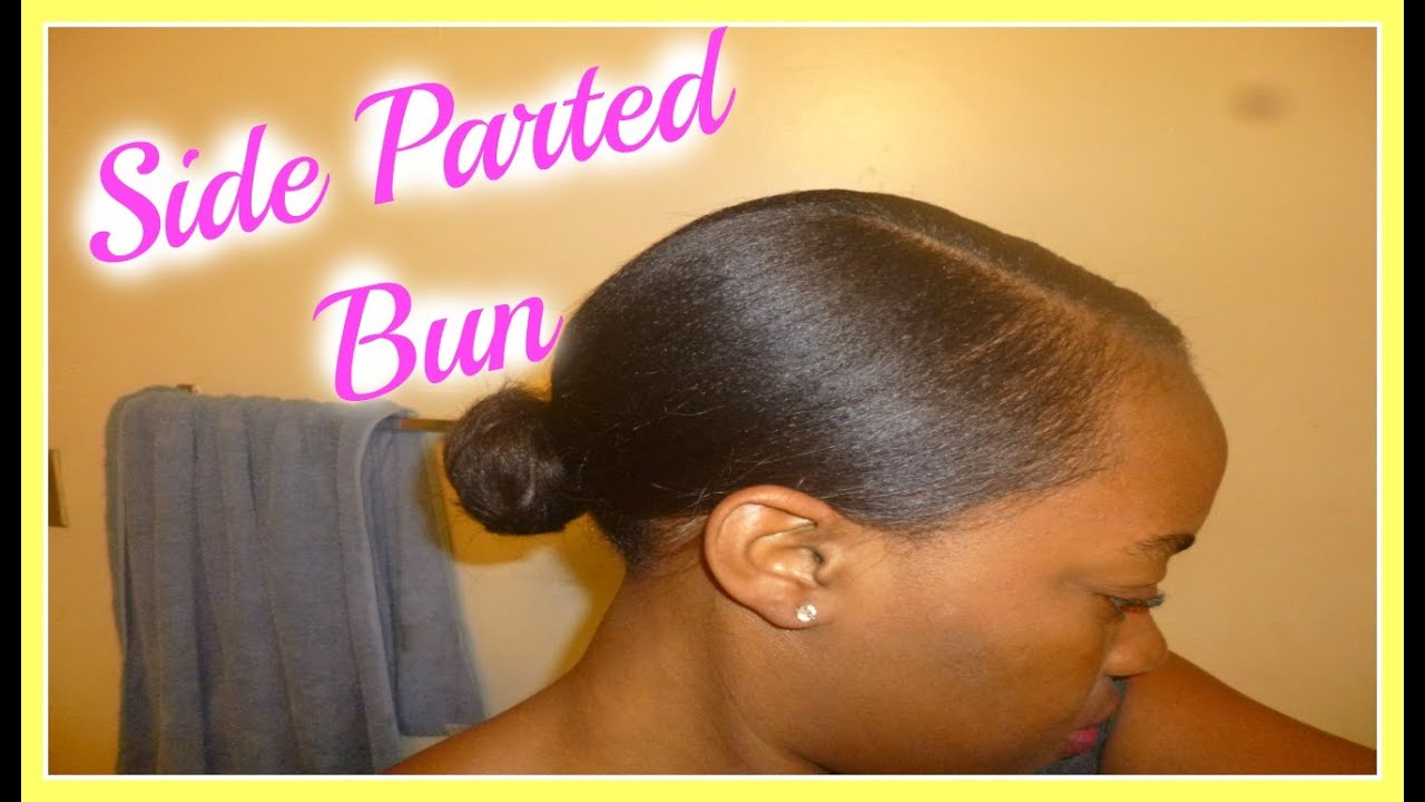 how to style black hair at home side parted low bun tutorial on relaxed hair 9229