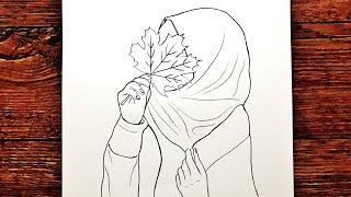 Türbanlı Kız Çizimi - Kapalı Güzel Kız Nasıl Çizilir - Yeni Başlayanlar İçin Çizim