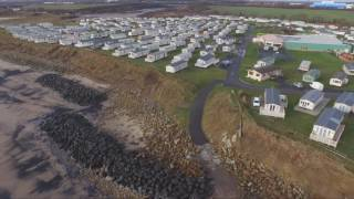 Sandy Bay caravan park northumberland drone footage