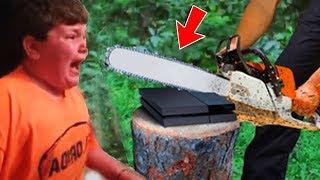 Vater ZERSTÖRT Playstation von 8 JÄHRIGEM JUNGEN weil er zu viel Fortnite spielt (Kind rastet aus!)