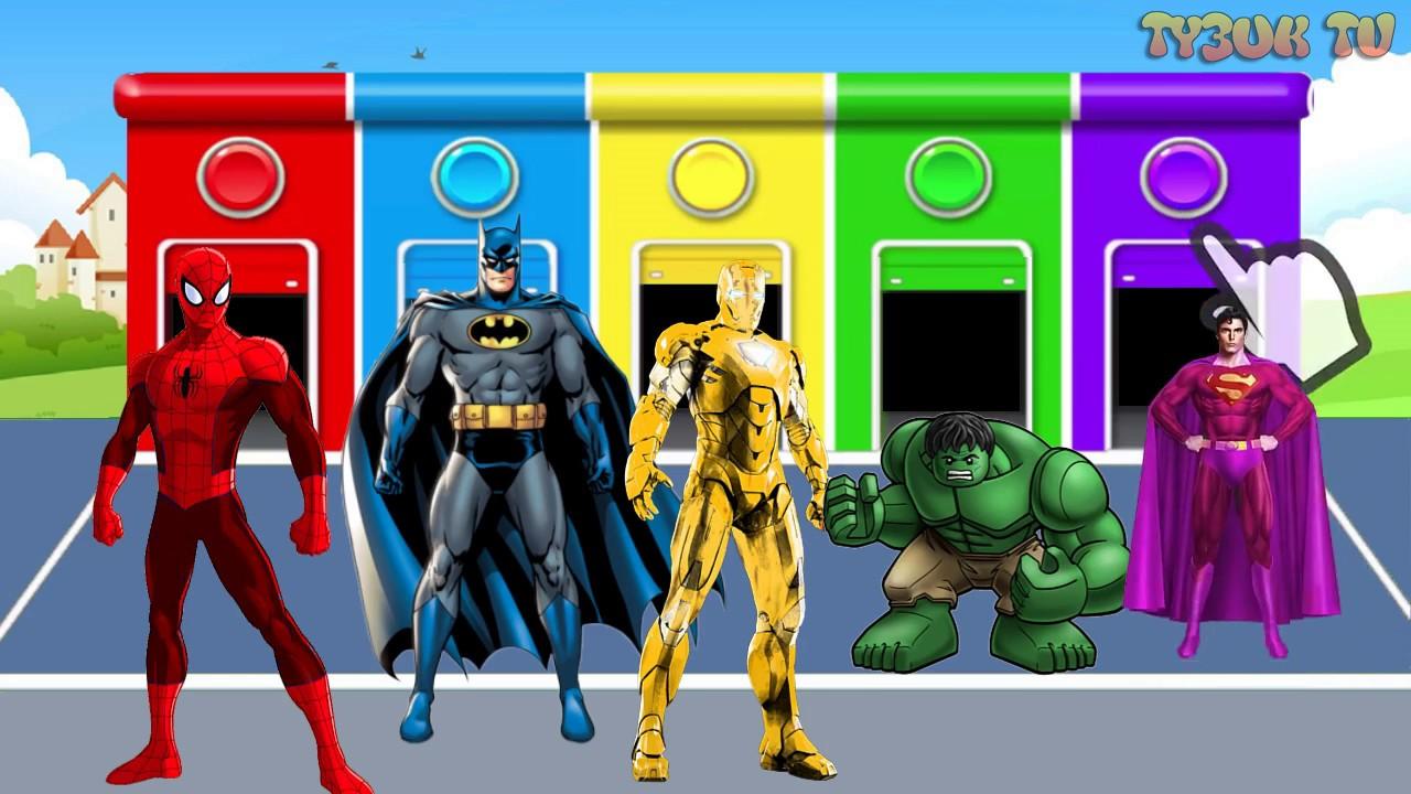 супергерои человек паук халк бэтмен железный человек супермен для детей учат цвета