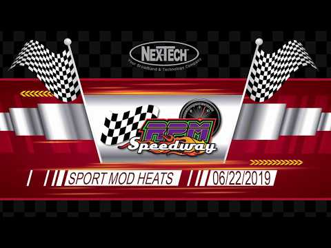 RPM Speedway Sport Mod Heats June 22 2019. - dirt track racing video image