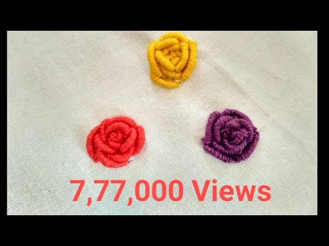 How to make hand embroidery - bullion knot flower design