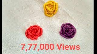 easy hand embroidery bullion knot flower for dress/kurti | simple bullion knot stitch embroidery