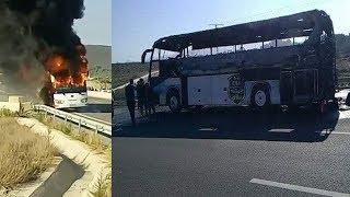 فيديو.. احتراق حافلة فريق وفاق سطيف