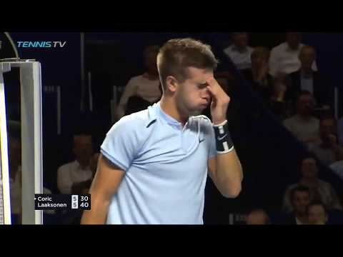 Borna Coric hits smash out from top of the net!