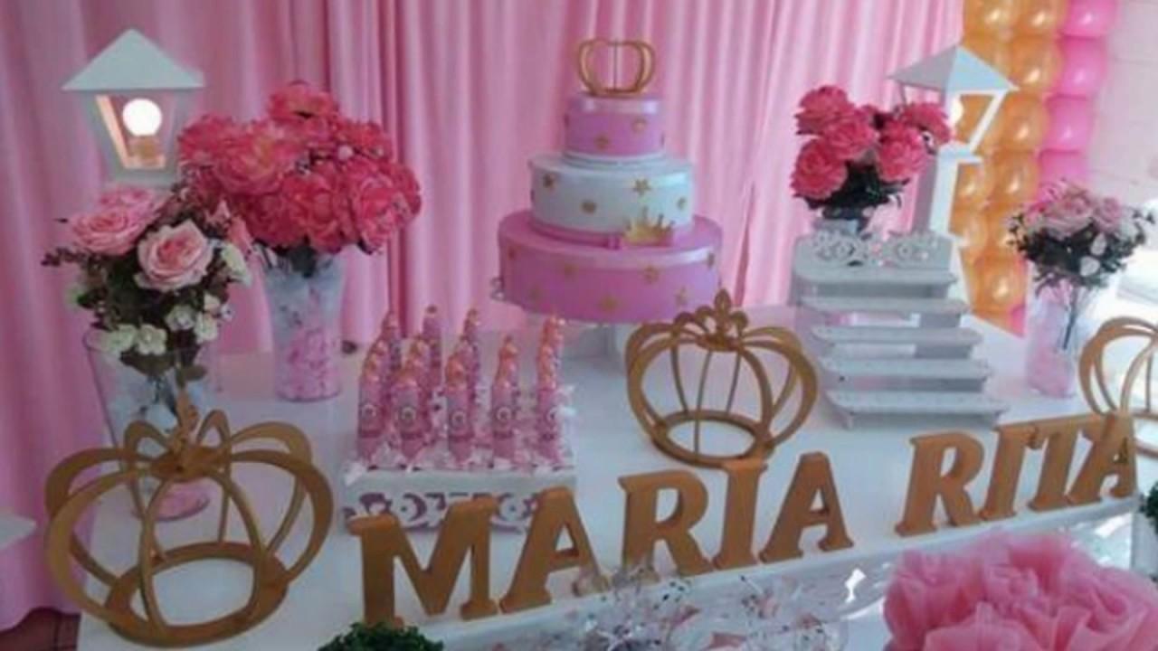 Ideias decoraç u00e3o festa Coroa Realeza Principe e Princesa YouTube # Decoração De Festa Infantil Realeza Luxo