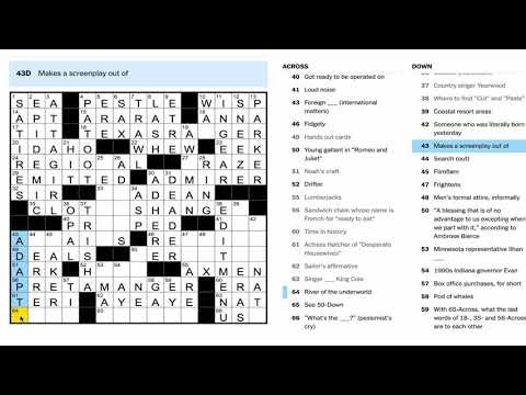 How To Solve A New York Times  Crossword Puzzle - Monday Puzzles