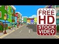 FREE HD video backgrounds – colorful cartoon city buildings with animated cartoon charaters