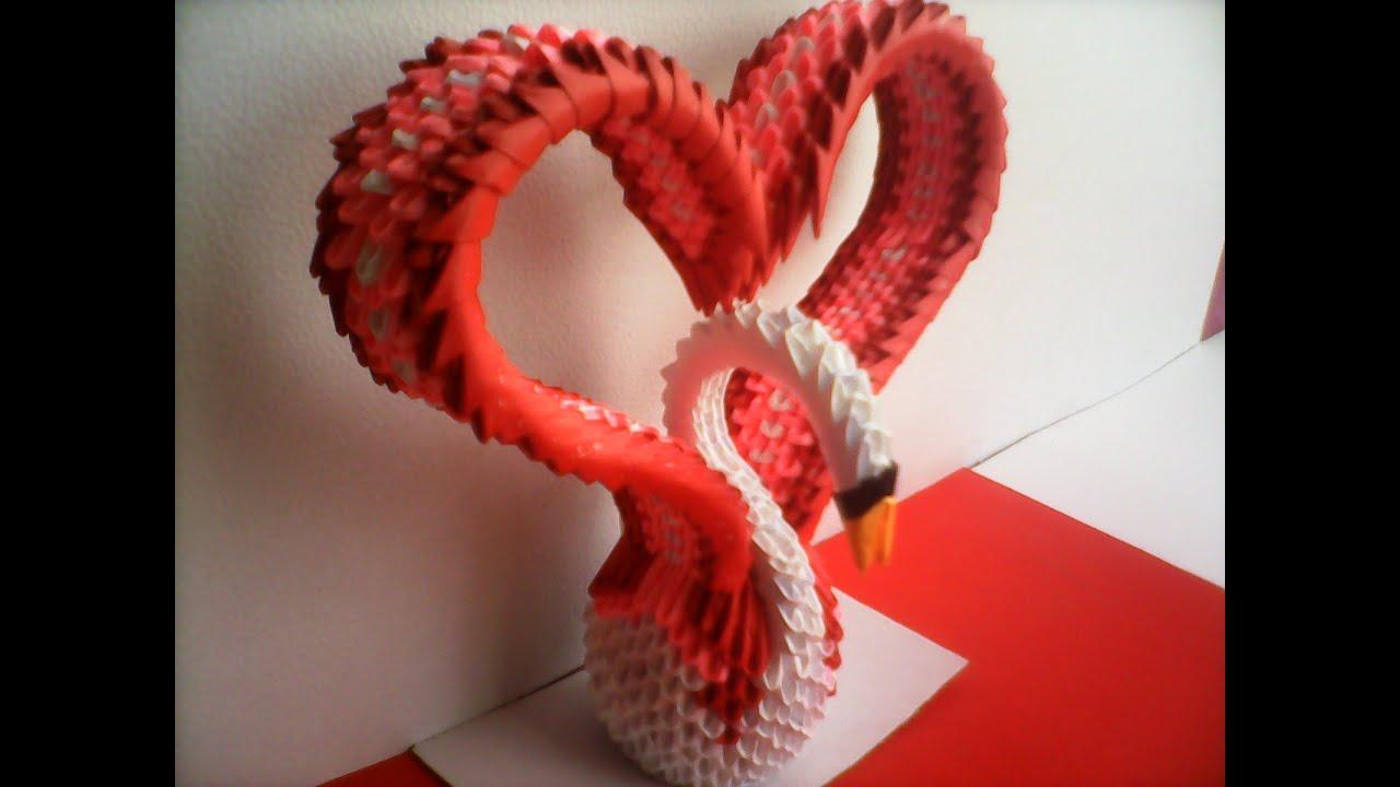 Papercraft CISNE CORAZÓN DE ORIGAMI 3D