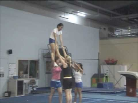 cheerleading stunt post up shoulder stand  youtube