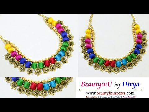 Making of Multicolor Silk Thread Necklace Using Antique Flowers and Gold Beads // Fancy Necklace
