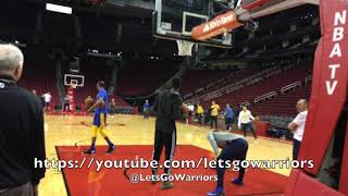 Warriors trainers/staff halfcourt shootout, Durant swats airballs, Steph Curry watches, nobody wins