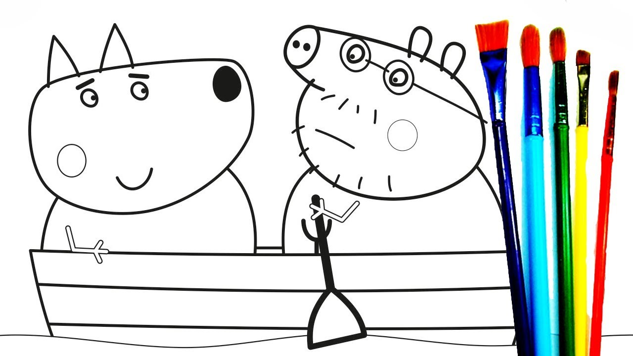 Download Row Row Row Your Boat   Daddy Pig Friends Together Coloring Pages