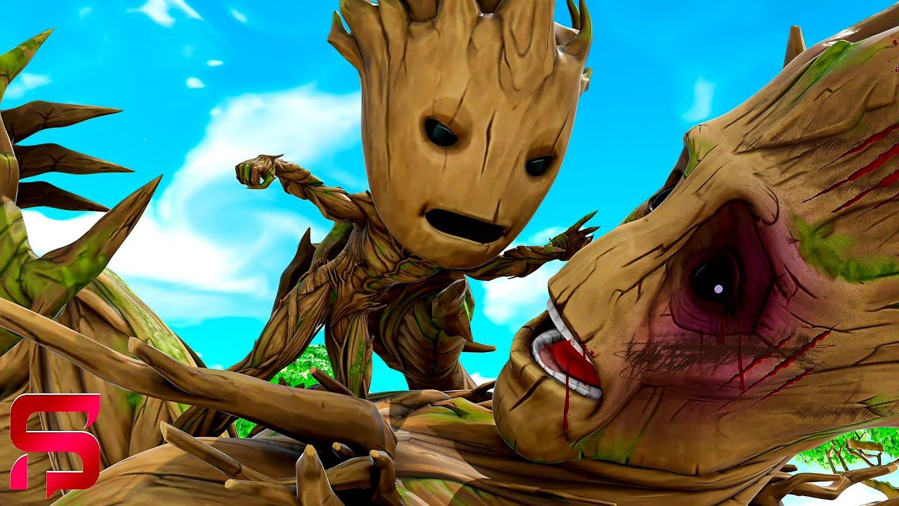 FATHER VS SON - BABY GROOT FIGHTS his DAD.... ( Fortnite Film )