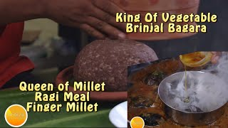 Smoked Brinjal ki Salan with Ragi Sankati -Cooked Finger millet Meal
