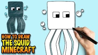 How to draw the Squid - Minecraft - Easy step-by-step drawing lessons for kids