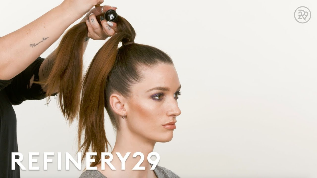 5 Quick Easy Updos Tutorial Short Cuts Refinery29 Youtube