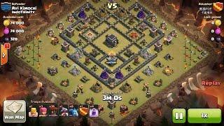 Clash of Clans TH9 vs TH9 Lava Hound, Balloon & Minion (Lavaloonion) (No Heroes) 3 Star Attack