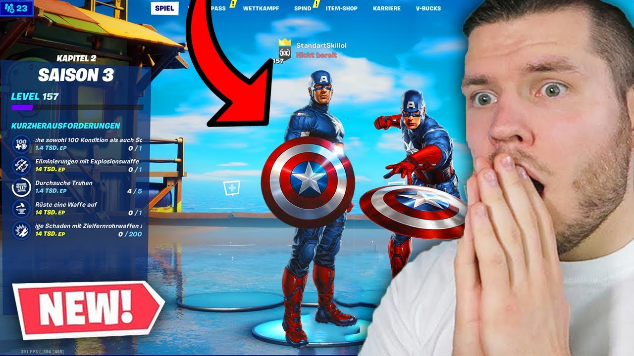 wie wird man Captain Amerika bekommen  in Fortnie?