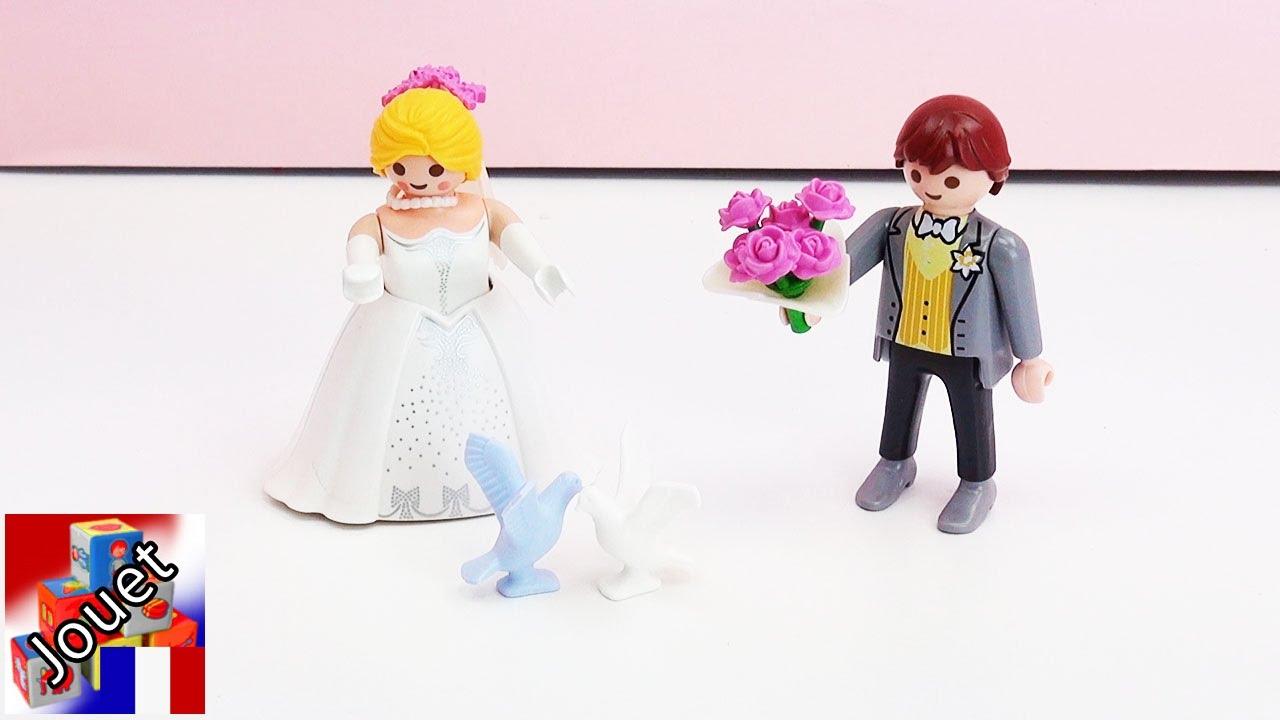 mariage playmobil fran ais un couple playmobil se marie avec la robe mari e et le costume du. Black Bedroom Furniture Sets. Home Design Ideas