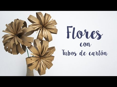 Diy decoraci n flores con tubos de cart n reciclado for Decoracion con papel