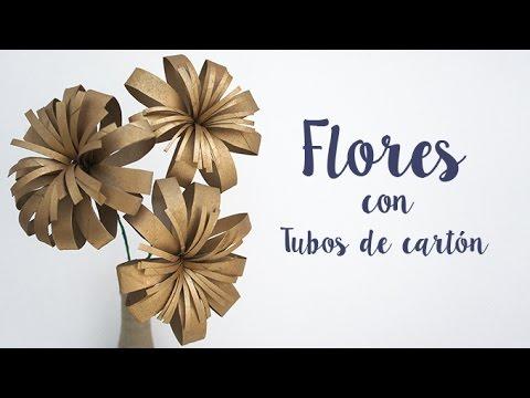 Diy decoraci n flores con tubos de cart n reciclado - Decoracion con carton de papel higienico ...