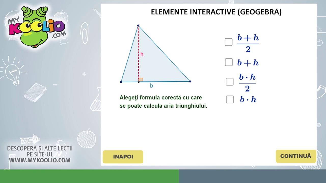 Lecție demo matematică, clasa a VI-a, Aria triunghiului