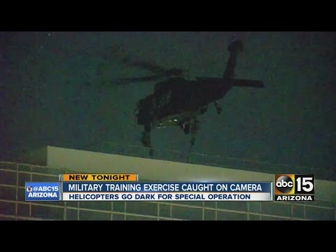 Military training exercise caught on camera over federal building