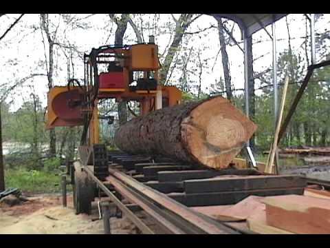 Logmaster sawmill cutting a pine log youtube for Mill log
