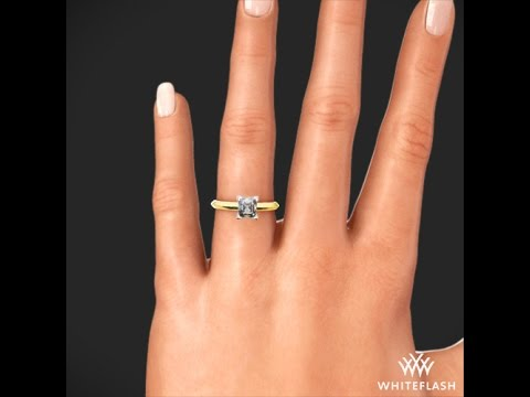 Knife Edge For Princess Solitaire Engagement Ring In Yellow Gold On Hand Youtube