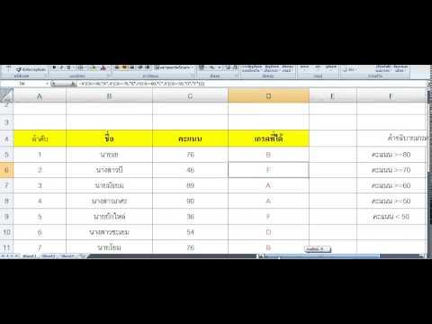 วิธีการใช้งานฟังก์ชันIF ในการตัดเกรดเฉลี่ย Excel 2007