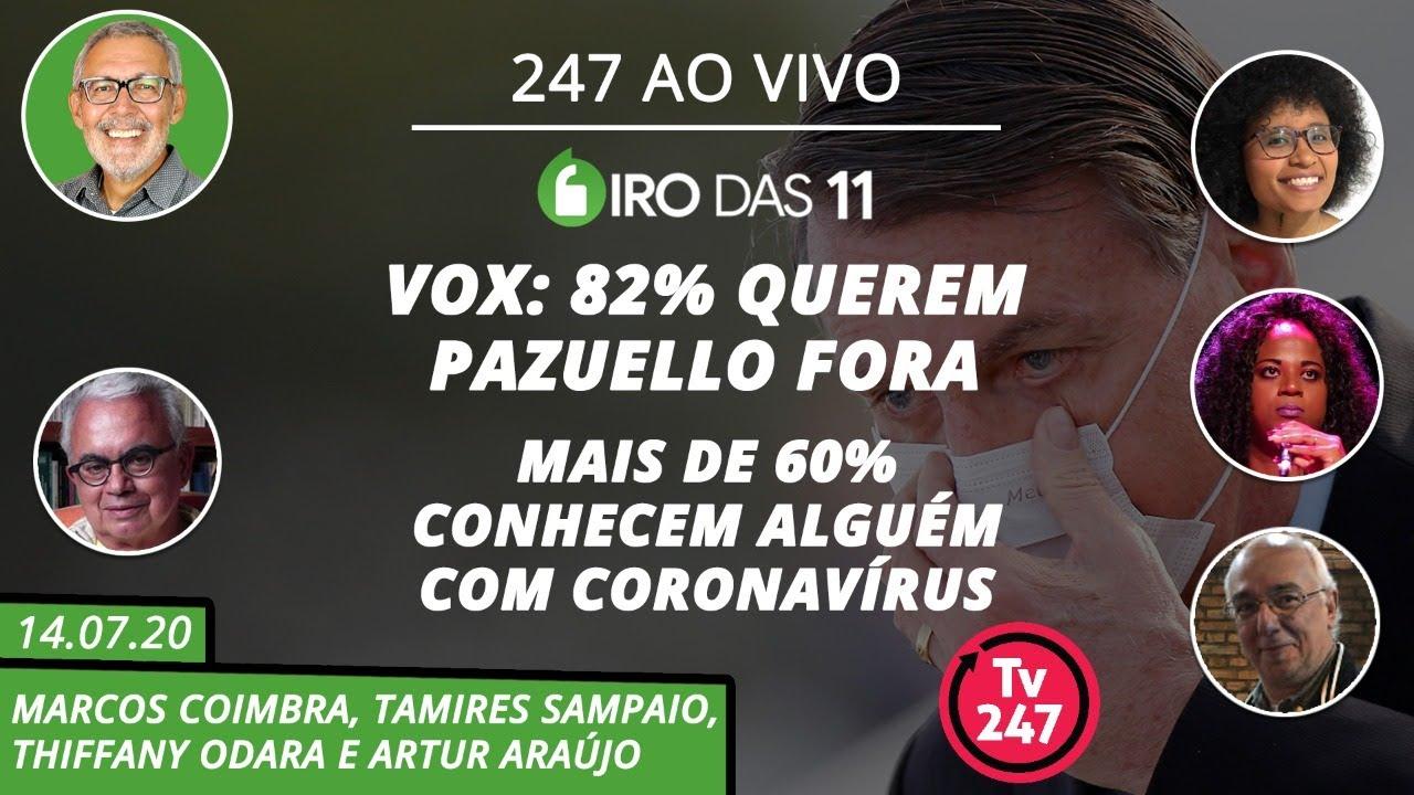 Giro das 11: Vox: 82% querem Pazuello fora (14.07.20)
